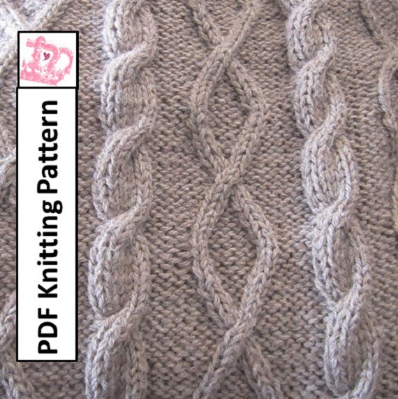 Knitting Pattern For Throw With Cables : PDF KNITTING PATTERN Diamonds and cable by LadyshipDesigns