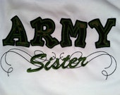 Reserved listing for nicolesnippendahlstr Sister shirt custom colors available... support the Military