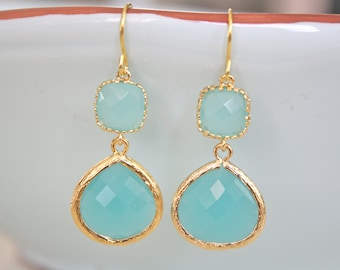 Gold Earrings, Aqua Earrings, Mint Earrings, Bridesmaids Earrings, Bridesmaid Jewelry, Bridesmaid Gifts, Gifts for Her, Gifts for Mom, Aunt