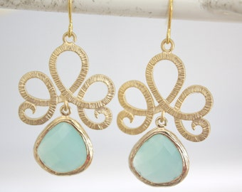 Gold Earrings, Aqua Earrings, Mint Wedding, Bridesmaids Jewelry, Bridesmaid gifts, gifts for her, best friend gifts