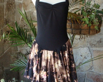 BLEACH BLACK BUBBLE dress upcycled 90s floral mini S