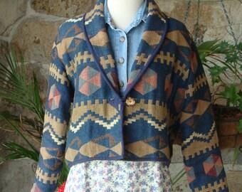 90s SOUTHWESTERN BLANKET JACKET vintage cropped aztec tapestry S