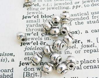 Tibetan silver bead, barrel bead, antique silver bead, 20 pcs