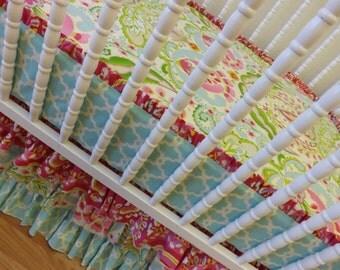 MADE to ORDER-- BUMPERLESS Crib Bedding-- Girl Crib Bedding--Kumari Garden