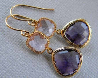 Plum and Champagne Dangle Earrings Trimmed in Gold-Bridesmaid Earrings-Bridal-Wedding-Gift For Her