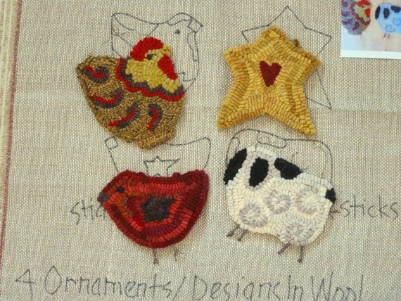 Rug Hooking PATTERN,  4 Christmas Ornaments, Chicken, Star, Bird, Sheep, J550