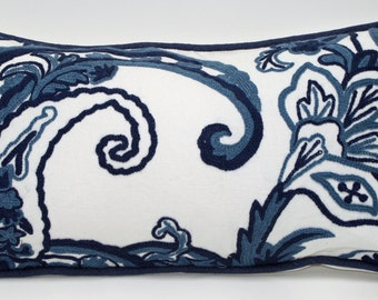 Embroidered Paisley Crewel - 12 x24 - Designer Pillow Cover - Linen - Designer Pillow - White - Blue