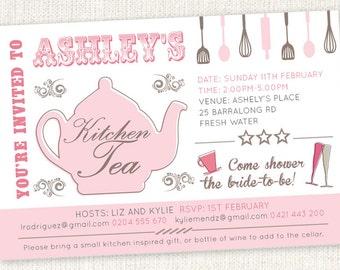 Kitchen Tea 'Teapot' shower invitations. Bridal Tea Party Shower Tea Invitations. Print at home.