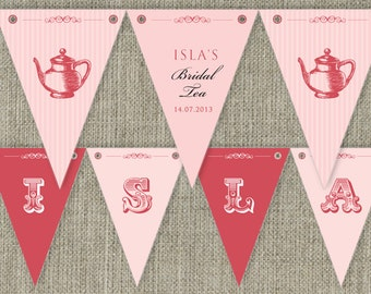 Bridal Tea - High Tea traditional Party Bunting Flags party decorations. Printable. DIY print at home.