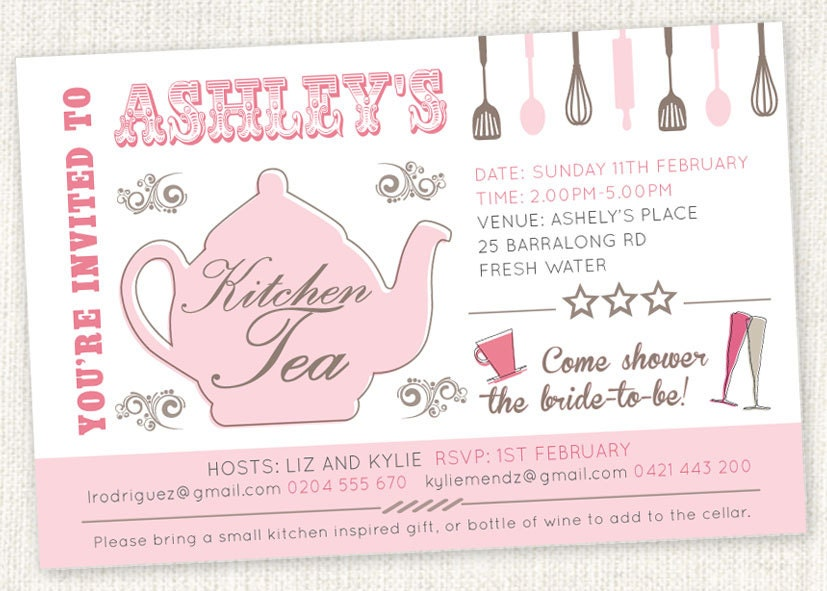 Kitchen tea 39 teapot 39 shower invitations bridal tea for Bridal shower kitchen tea ideas