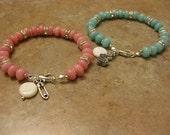 amazonite bracelet, new mom gift, morganite bracelet, pink stone jewelry, new mother bracelet, baby shower gift, baby gift, push gift