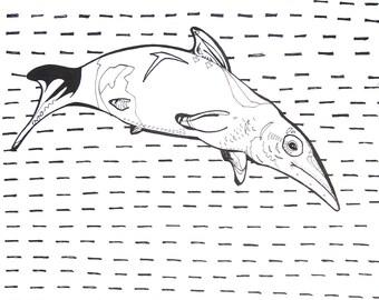 "Ichthyosaur - 8"" x 10"" Prehistoric Sea Creature, Dinosaur Print in Black and White - Illustration Fine Art"