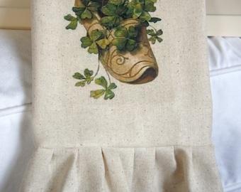 St. Patricks Day Tea Towel - Clover in Clog