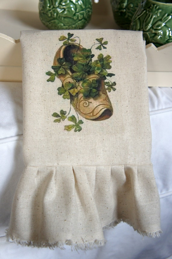 St. Patricks Day Tea Towel - Clover in Clog