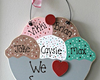 Wooden Personalized We Love Summer Ice Cream Sundae Sign