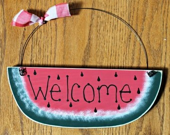 Welcome Watermelon Wooden Sign
