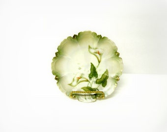 Pretty Plates- Antique Fine China- Calla Lily- RS Germany- 2017 Trending Vintage Pantone Greenery