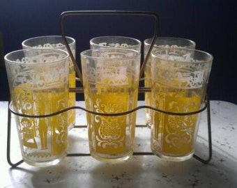 Vintage Amish Dutch Glasses with Wire Tote