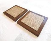 2pc Set Framed VIntage Modern Ceramic Art Tiles  - Interpace - 1970s Franciscan Ceramics - Abstract Design - Trivet, Wall Art