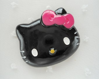 1pc ((LAST)) LL Black Kitty Decoden Cabochon (47x38mm) HK10008