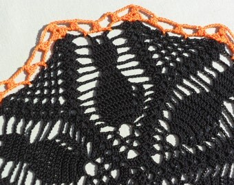 Pretty Black Kittens Crocheted Doily