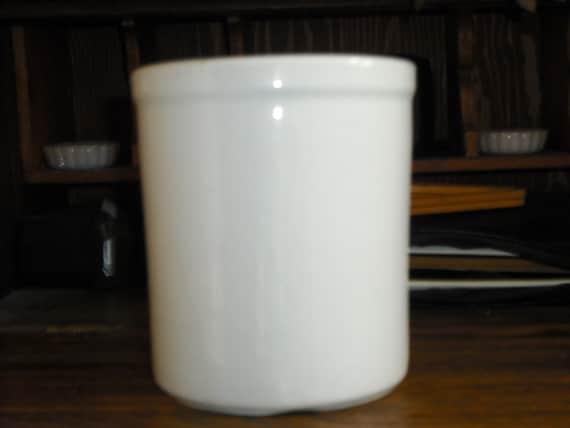 Vintage Hall White Crock Pottery Utensil Holder Gadget