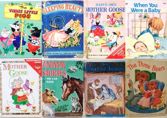 Vintage Children's Books Stories Mixed Lot of Eight 8 Fairy Tales Mother Goose