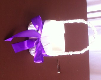 Ivory Satin  with Purple Bow Flower Girl Basket