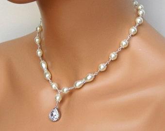 Wedding Necklace. Bridal Necklace. CZ Rhinestone Necklace. Bridal Jewelry. Wedding Jewelry. Bridesmaids Jewelry