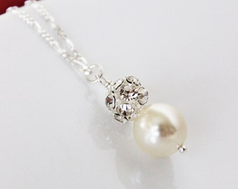 Rhinestone Pearl Wedding Pendant. Wedding Jewelry. Pearl Drop Wedding Necklace. Bridesmaids Jewelry. Bridal Jewelry