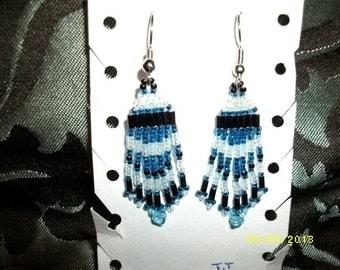 Blue Teal Black n Silver Earrings