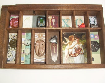 Vintage Letterpress Tray, Altered Art Assemblage, Mixed Media, FREE SHIPPING USA