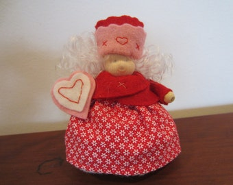 Felt Valentine miniature doll in red with heart, waldorf style, Valentine decor