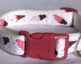 """Ice Cream Cone Woven Ribbon 1"""" Dog Collar Size M or L"""