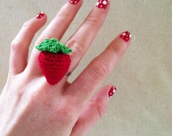 Crocheted Strawberry Ring, Berry Red Adjustable