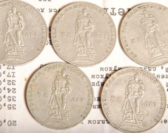 1965 USSR 1 Russian Soviet annivers Ruble Rouble 5 Coins XX years of Victory