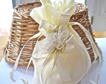 Gift Party Wedding Fabric Bag Ivory Set of 2 FREE SHIPPING