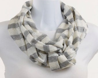 T-Shirt Knit Gray Scarf Gray and Cream  Stripe Soft White Popular lightweight Knit Infinity Scarf ~ K037-L5