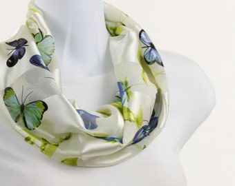 Sheer and Satin Infinity Scarf - Butterfly and Floral Design ~ SH077-S5