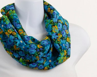 Infinity scarf Tropical Elegance Bold Bright - Blue Yellow Lime Green on black ~ SK049-S5