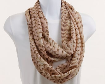 Sheer Infinity Scarf in Salmon with Wheat Like Tan Leaf ~ SH003-L1