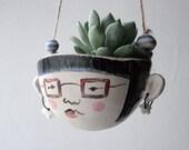Handmade ceramic planter- Iris hipster-garden ornament