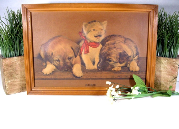 Antique 3D Lithograph of Susie in original frame with history 1940