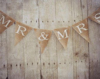 Mr. and Mrs. burlap banner. Wedding sign. Rustic bunting garland