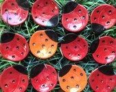 Ceramic Tiny Ladybug Dish, Luck, bridal favor, catchall, jewelry, ring dish, home decor, teabag holder, spoon rest.