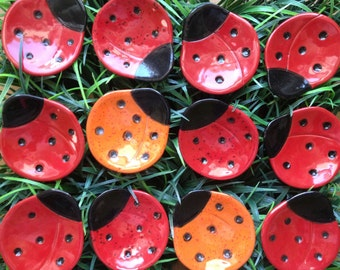 Ceramic Tiny Ladybug Dish, Luck, bridal favor, catchall, jewelry, ring dish, home decor, teabag holder, spoon rest.