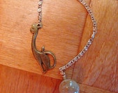 Dowsing Pendulum - Pet Pendulum - Elegant Brass Cat with Rutilated Quartz Drop