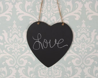 Hanging Large Chalkboard Heart Sign with Twine- Photo  Prop/ Message Board- Ready to Ship