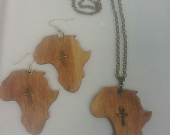 Natural Wood African Pendant & Earring Set  FREE SHIPPING