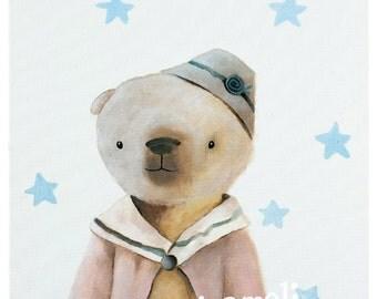 Children's wall art print, stellar teddy bear, kids room decor, nursery animal decor, kids illustration by inameliart